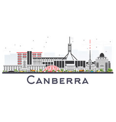 Canberra australia city skyline with gray vector
