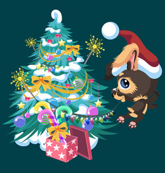 cartoon cute happy dog decorating christmas tree vector image