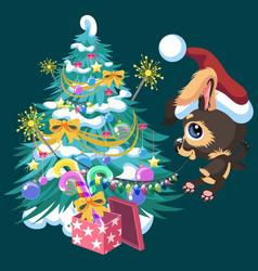 Cartoon cute happy dog decorating christmas tree vector