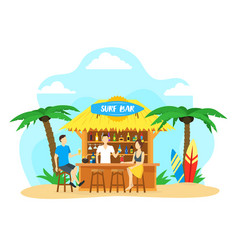 cartoon surf beach bar summer vacation travel vector image