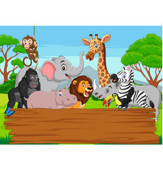cartoon wild animal with blank board in jungle vector image