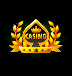 casino and playing card symbol banner with ribbon vector image