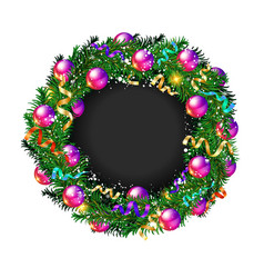 christmas wreath on white background vector image