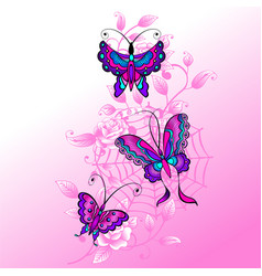Cobweb roses and butterflys vector