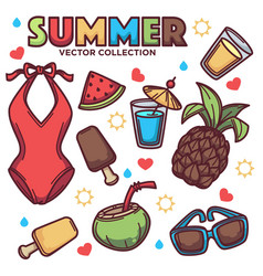 Collection of summer tropical objects vector