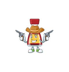 Confident say asian sauce cowboy holding guns vector