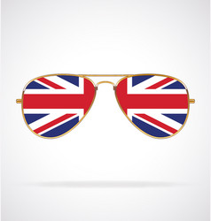 cool aviator sunglasses with uk flag union jack vector image
