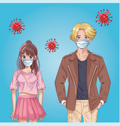Couple with face masks and covid19 particles anime vector