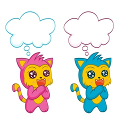 Cute cats with speech bubbles vector image