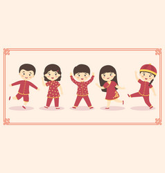 Cute chinese kids boy girl costume set vector