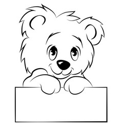 cute polar bear holding a sign eps 10 vector image