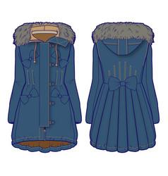 Dark blue denim coat with fur vector