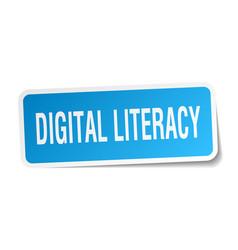 Digital literacy square sticker on white vector