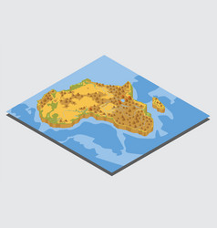 Flat 3d isometric africa map constructor elements vector
