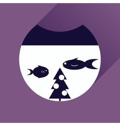 Flat icon with long shadow Christmas tree and fish vector