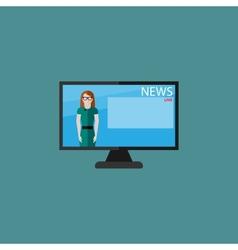 Flat of female TV newscaster breaking news vector