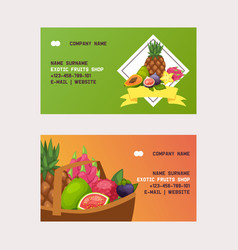 fruits business card fruity apple banana vector image