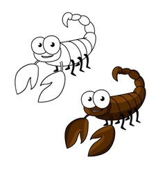 Funny little cartoon brown scorpion vector image