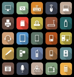 Gadget flat icons with long shadow vector
