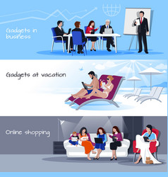 Gadgets in business vacation shopping banners vector