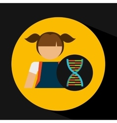 Girl student laboratory dna icon vector