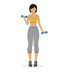 girl with dumbbells vector image