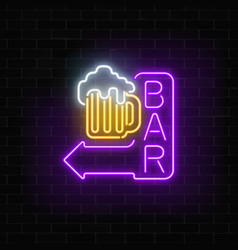 Glowing neon beer bar signboard with arrow on vector