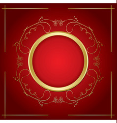 Gold frame - transparent shadow on red background vector