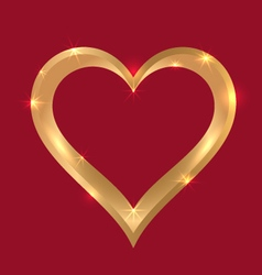 Golden heart frame vector