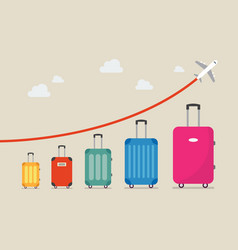 Graph increase in the number of tourists traveling vector