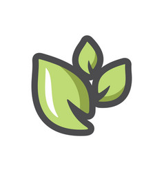 green leaves set icon cartoon vector image