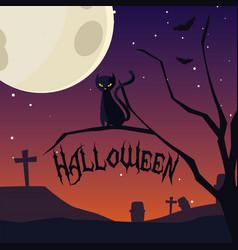 halloween card with night cemetery scene vector image