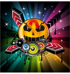 halloween disco background vector image