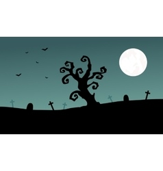 Halloween tomb and dry tree silhouette vector