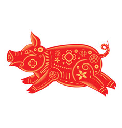 happy chinese new year 2019 zodiac sign red pig vector image