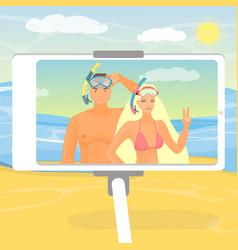 happy couple taking selfie on beach flat vector image