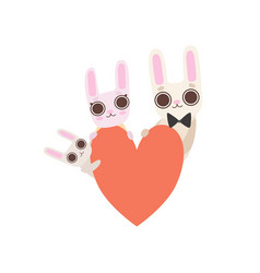 happy family bunnies with red heart father vector image