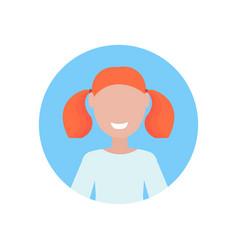 Happy redhead girl face avatar little child female vector
