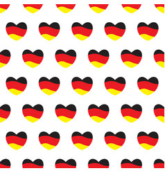 hearts with german flags colors seamless pattern vector image