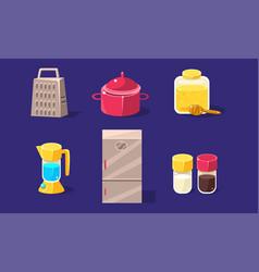 Household appliances set grater pan honey jar vector