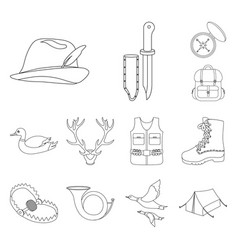 Hunting and trophy outline icons in set collection vector