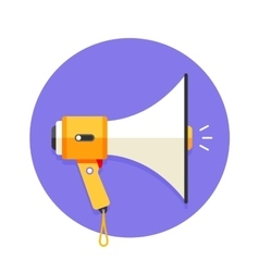 Icon of white and orange megaphone or mouthpiece vector image
