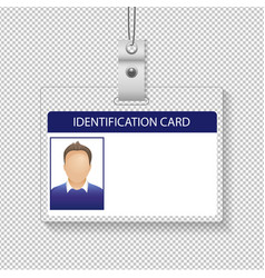 Identification card with photo man isolated vector