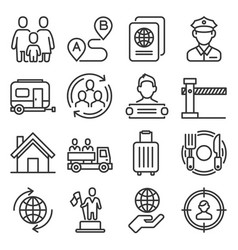 immigration and immigrants icons set on white vector image