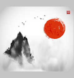 Ink wash painting with big red sun flock birds vector