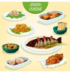 Jewish cuisine icon with festive dinner menu vector