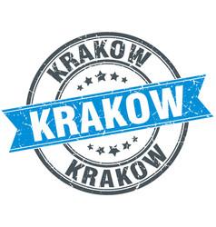 Krakow blue round grunge vintage ribbon stamp vector