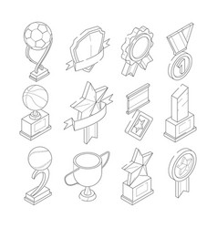 linear isometric icon set of various sport vector image