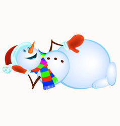 lying snowman in red mittens and striped scarf vector image