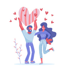man and woman holding big red hearts valentine s vector image